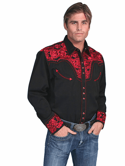 Scully Western Gunfighter Shirt Black/Red