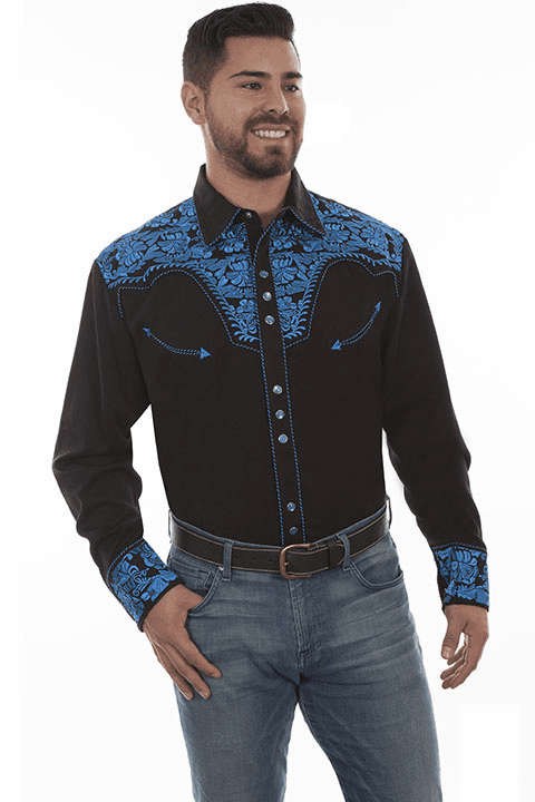 Scully Western Gunfighter Shirt Black/Royal Blue