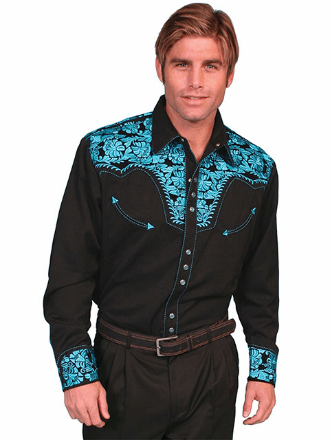 Scully Western Gunfighter Shirt Black/Turquoise