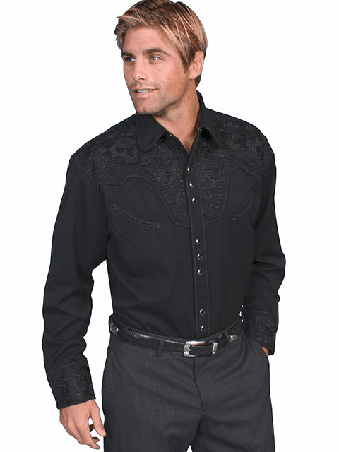 Scully Western Gunfighter Shirt Jet Black