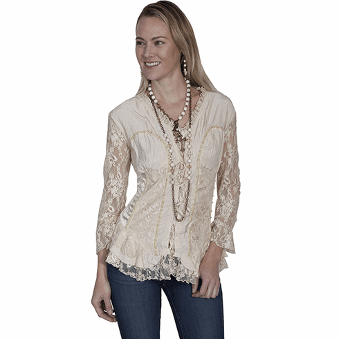 Scully Western Lace Blouse - Camel