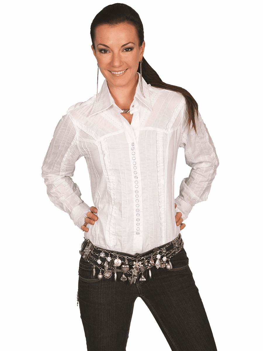 Scully Western Lace Style Shirt - White