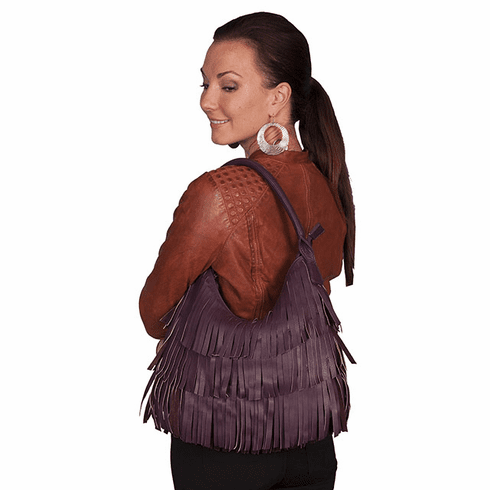 Scully Western Leather Bag with Fringe Purple