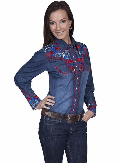 Scully Western Multi-Color Floral Shirt Denim**