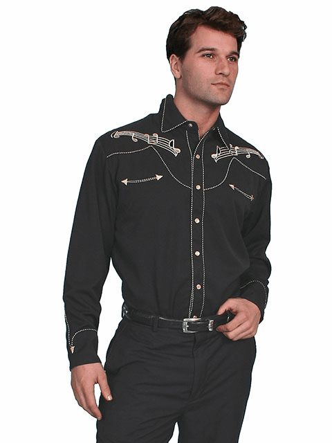 Scully Western Music Note Shirt Black