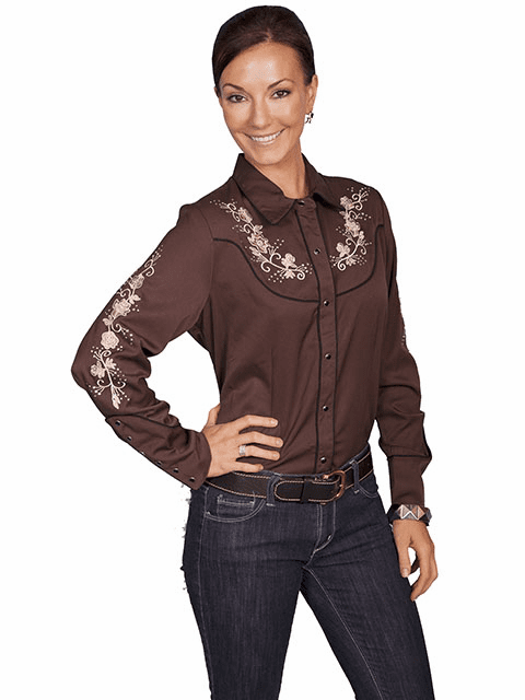Scully Western Pink Floral Brown Shirt XS-2XL