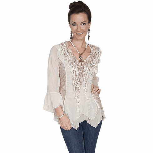 Scully Western Romance Blouse Natural