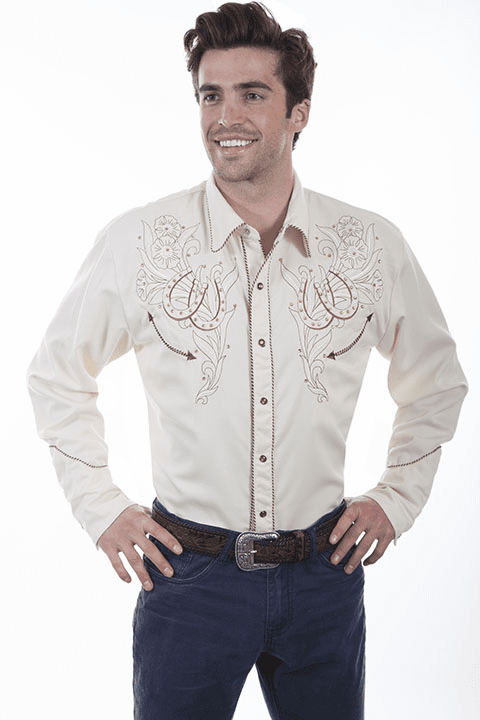 Scully Western Roses and Horseshoes Men's Shirt Cream