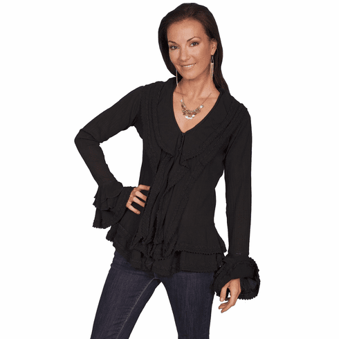 Scully Western Ruffle Blouse Black