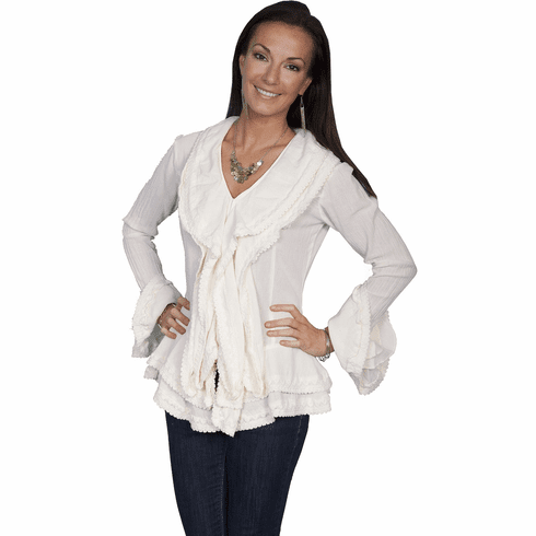 Scully Western Ruffle Blouse Natural