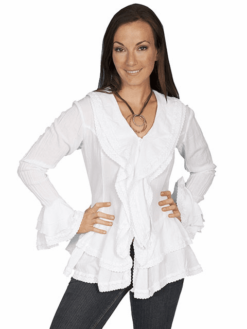Scully Western Ruffle Blouse White