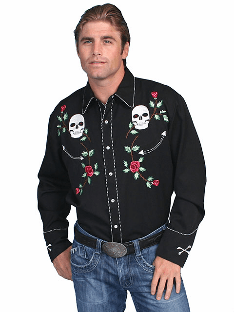 Scully Western Skull Shirt