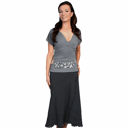 Scully Western Soutache Embroidery Skirt Black