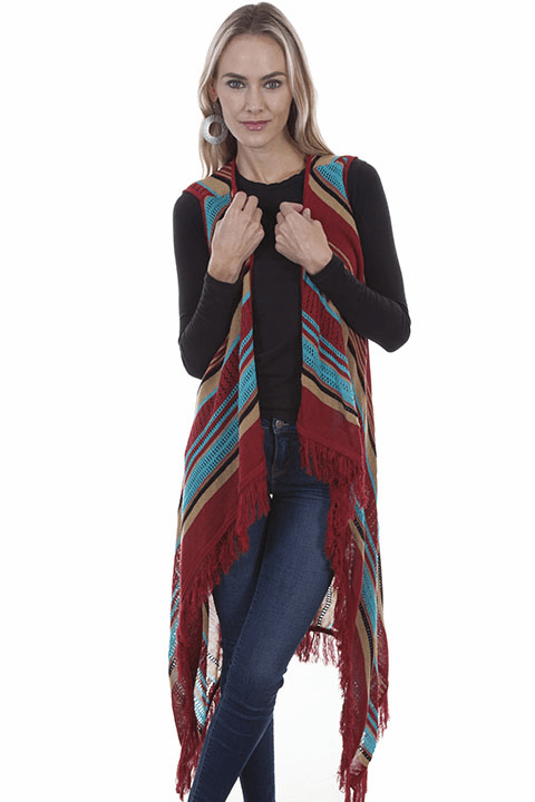 Scully Western Stripe and Fringe Vest Red**