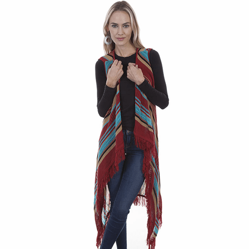 Scully Western Stripe and Fringe Vest Red