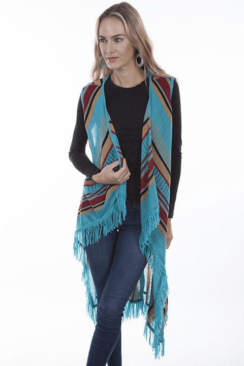 Scully Western Stripe and Fringe Vest Turquoise