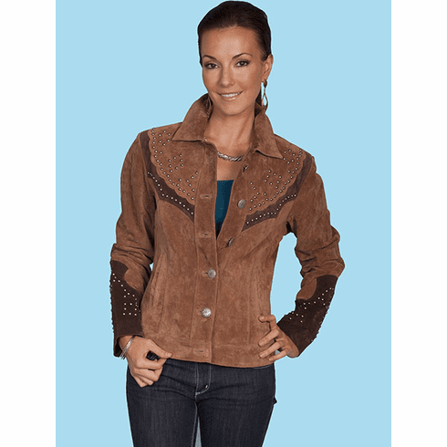 Scully Western Stud Leather Jacket Brown