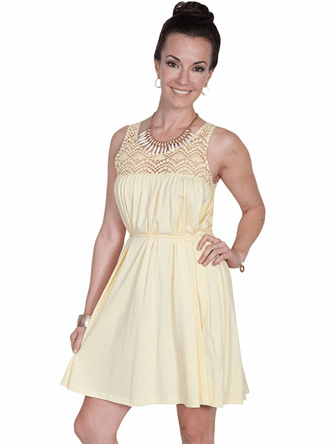 Scully Western Sweetheart Dress Yellow