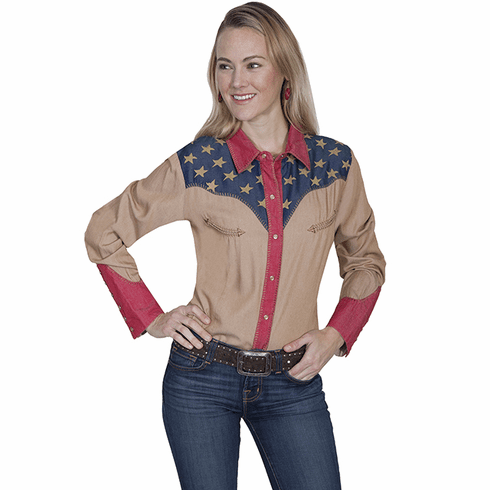 Scully Women's Patriotic Western Shirt Tan