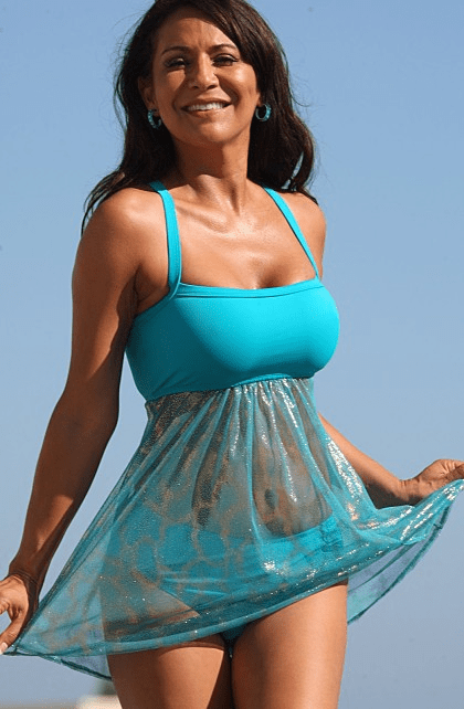 Sheer Sparkle Teal Swimdress Set Reg/Plus Size