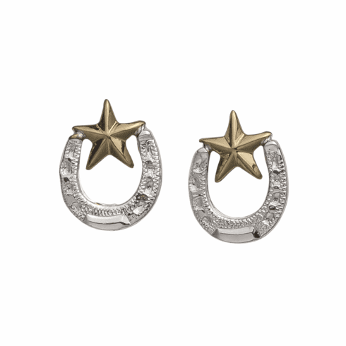 SILVER HORSESHOES WITH COPPER STARS