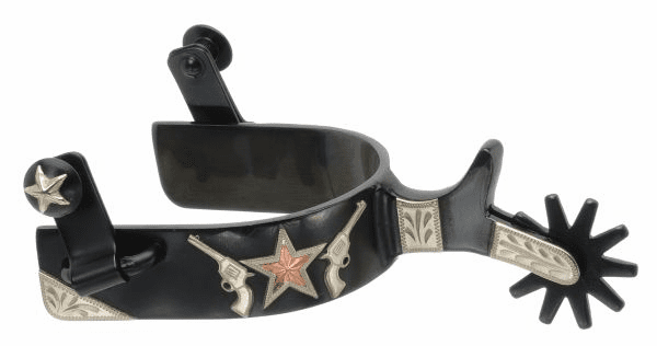 Silver Star Spur with Gun/Star Design - Black Steel