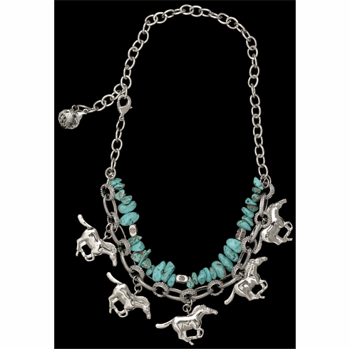 Silver Strike Turquoise and Silver Horse Charm Boot Bracelet