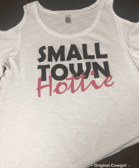 Small Town Hottie Cold Shoulder Tee White