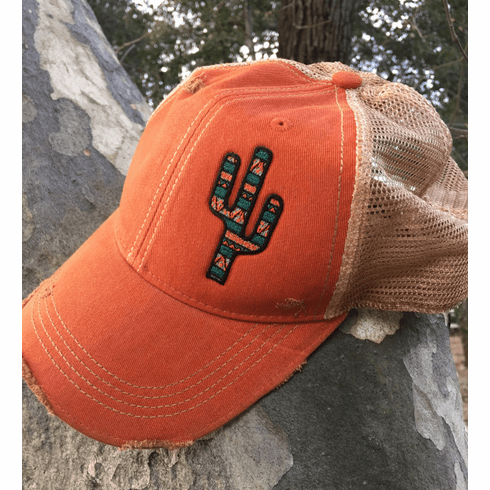 Southwest Cactus Cap  Vintage Orange