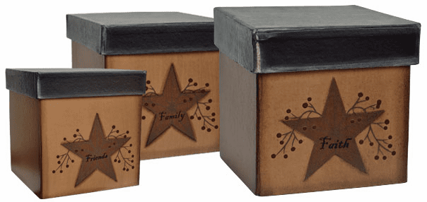 Star & Berries Boxes Set of 3