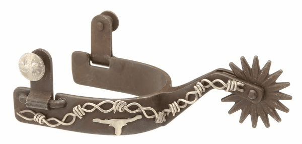 Star Longhorn Barbed Wire Spurs - Antique Brown