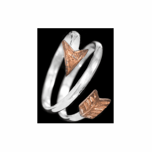 STERLING COPPER ARROW RING
