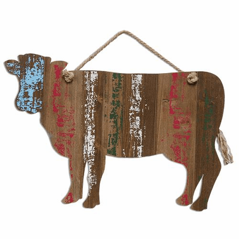 Striped Cow w/ Rope Hanger