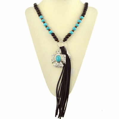 Thunder Bird Decorated With Turquoise Beads Tassel Necklace Set-Brown