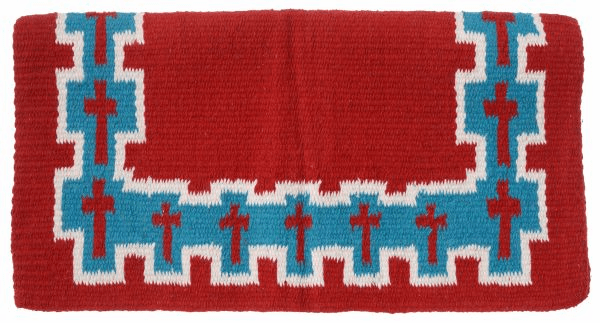 Tough-1 4 lb Wool Saddle Blanket Crosses Design - 35-8915-328-0