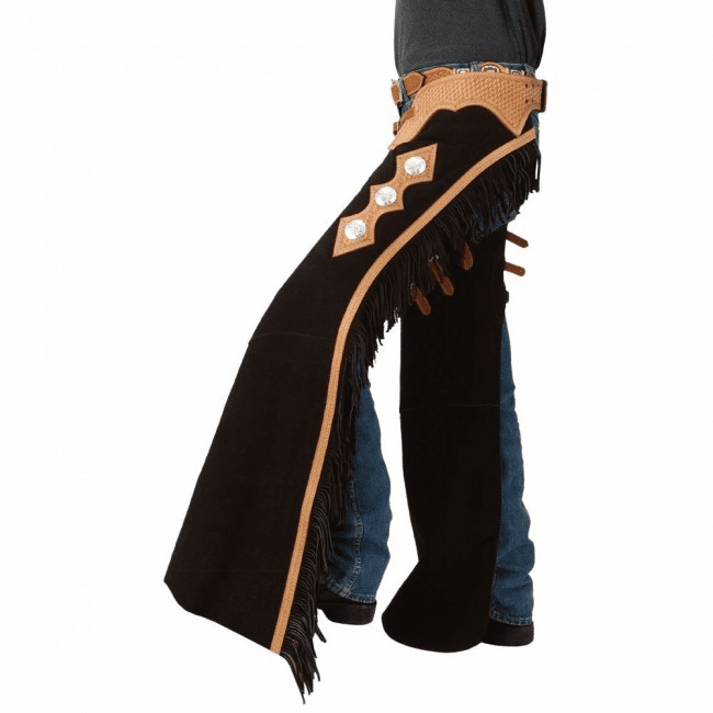 Tough-1 Suede Leather Cutting and Show Chaps Black