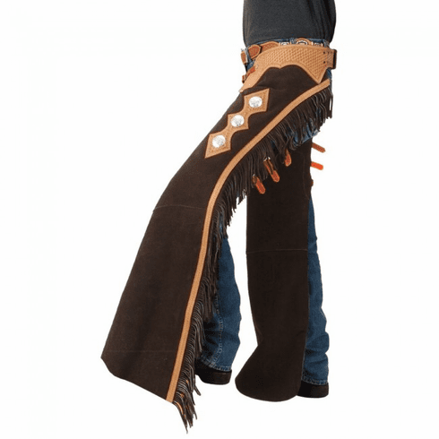 Tough-1 Suede Leather Cutting and Show Chaps Brown