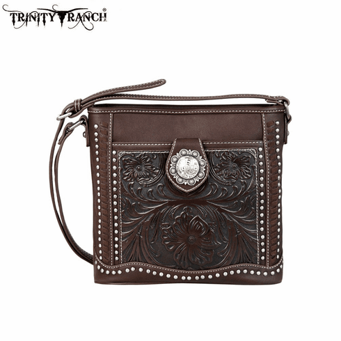 Trinity Ranch Tooled Collection Crossbody Bag Coffee