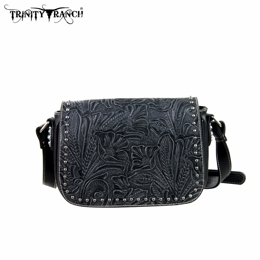 Trinity Ranch Tooled Design Collection Handbag Black