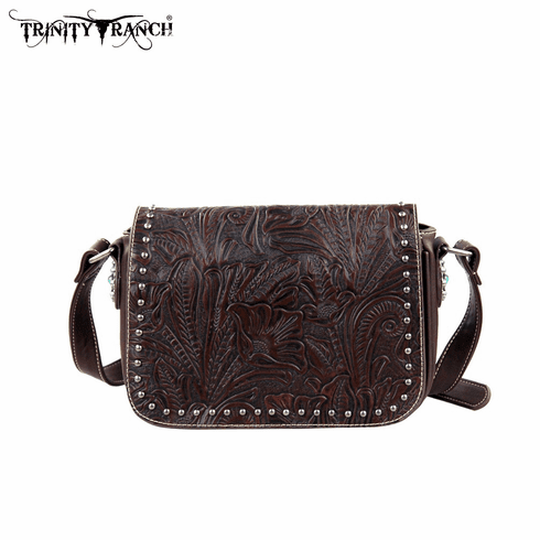 Trinity Ranch Tooled Design Collection Handbag Coffee