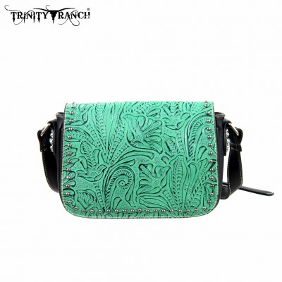 Trinity Ranch Tooled Design Collection Handbag Turquoise