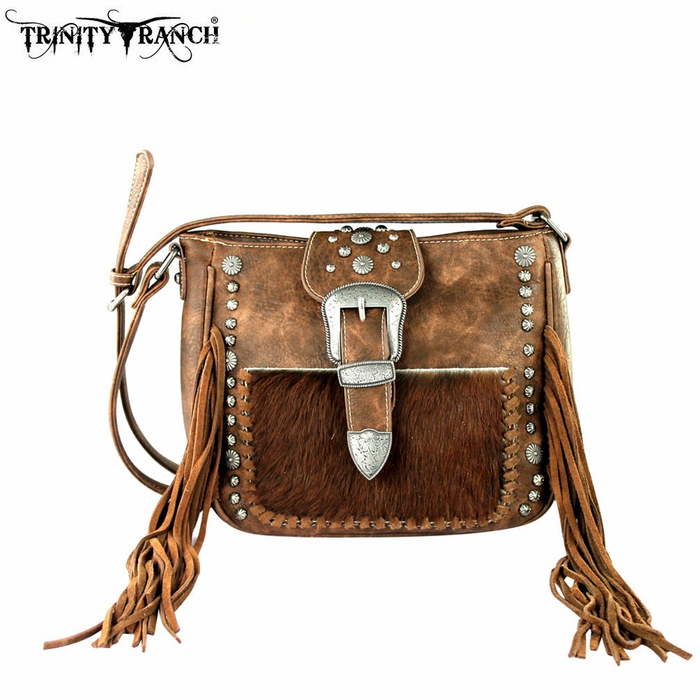 Trinity Ranch Tooled Hair-On Leather Crossbody