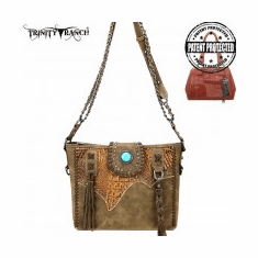 Trinity Ranch Tooled Leather Collection Concealed Carry Hobo/Crossbody Coffee Brown