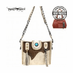 Trinity Ranch Tooled Leather Collection Concealed Carry Hobo/Crossbody Tan