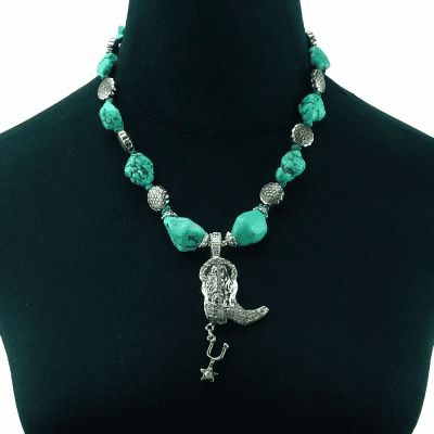 Turquoise Nugget Necklace with Boot and Spur Charm