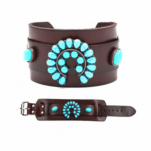 Turquoise Squash Blossom Leather Bracelet Brown