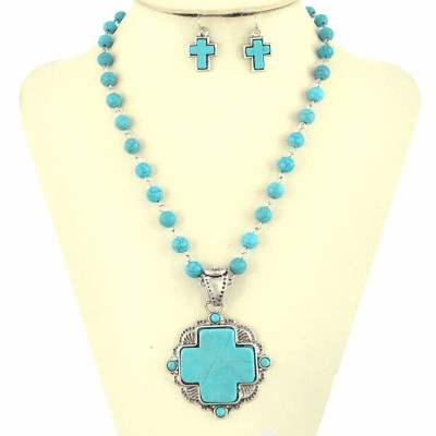 Turquoise Stones With Metal Cross Long Necklace Set-Turquoise