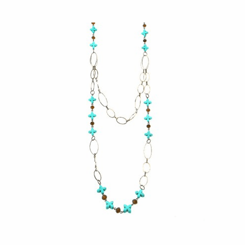 Two Layers Turquoise Flower w/Sliver Parts Necklace
