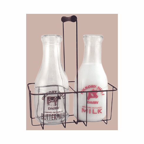 Vintage Glass Milk Bottles w/Carrier