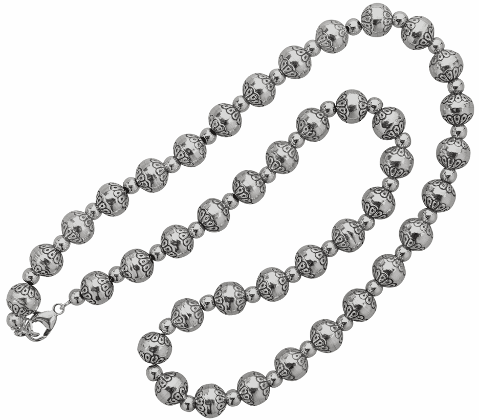Vogt Engraved Sterling Beads Necklace
